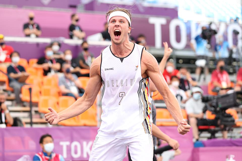 <p>TOKYO, JAPAN - JULY 27: Thibaut Vervoort of Team Belgium celebrates victory in the 3x3 Basketball competition on day four of the Tokyo 2020 Olympic Games at Aomi Urban Sports Park on July 27, 2021 in Tokyo, Japan. (Photo by Christian Petersen/Getty Images)</p>