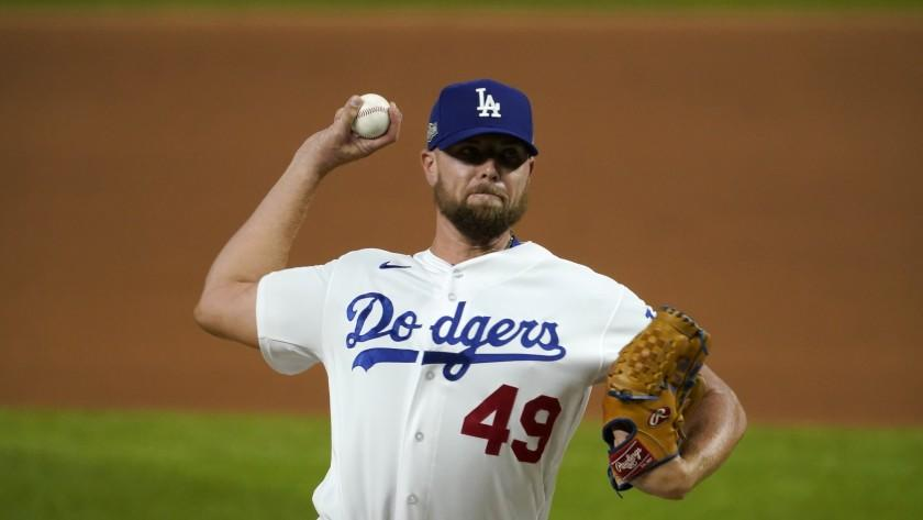 Dodgers reliever Blake Treinen pitches against the San Diego Padres.
