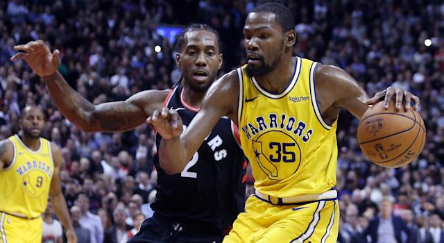 Kawhi Leonard and Kevin Durant teamed up with LeBron James for one of the most talked about workouts of all time. (Photo by Vaughn Ridley/Getty Images)