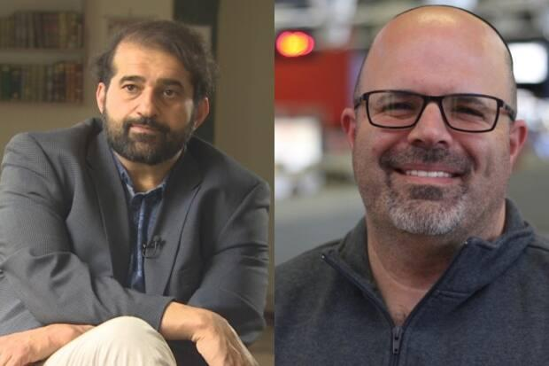 Dan Moskovitz, right, a senior rabbi at Temple Shalom Synagogue and Haroon Khan, a trustee with the Al-Jamia Masjid mosque, struck up a friendship after connecting through tragedy and trauma. (CBC News - image credit)