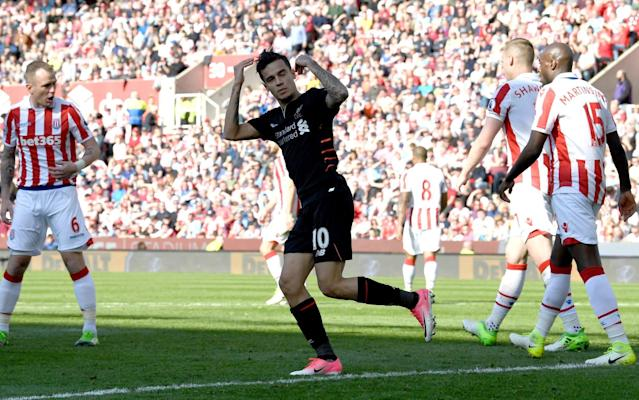 Philippe Coutinho celebrates his goal at Stoke - Getty Images Europe