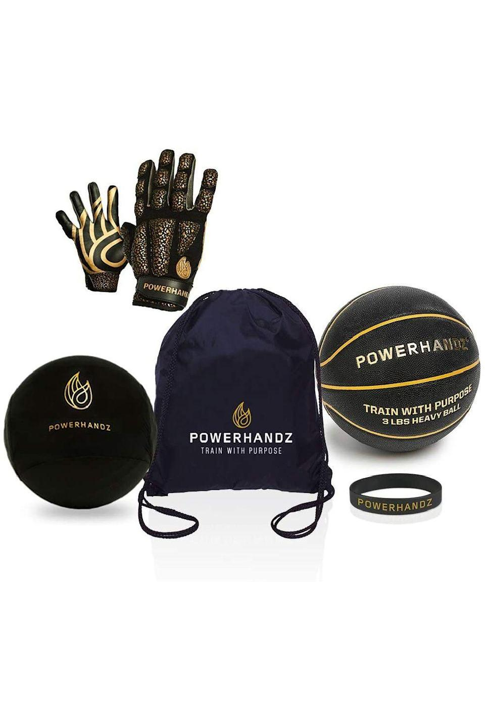 "<p><strong>POWERHANDZ</strong></p><p>amazon.com</p><p><strong>$138.99</strong></p><p><a href=""https://www.amazon.com/dp/B08P55JWZZ?tag=syn-yahoo-20&ascsubtag=%5Bartid%7C10049.g.22628672%5Bsrc%7Cyahoo-us"" rel=""nofollow noopener"" target=""_blank"" data-ylk=""slk:Shop Now"" class=""link rapid-noclick-resp"">Shop Now</a></p><p>Get them this set of training equipment. The weighted gloves, weighted ball, and anti-grip basketball sleeve will definitely help them improve their game. Plus, it comes with a matching wristband and a drawstring bag to carry it all in. </p>"