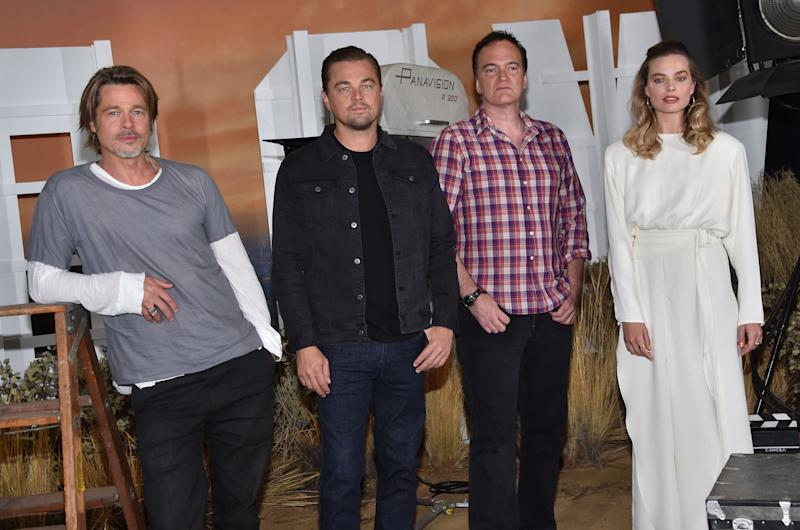 Brad Pitt, Leonardo DiCaprio, Quentin Tarantino and Margot Robbie attend the photo call for Sony Pictures'