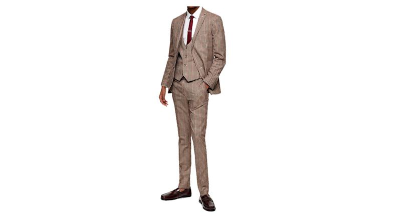 Two Piece Brown Gingham Check Skinny Fit Suit With Notch Lapels