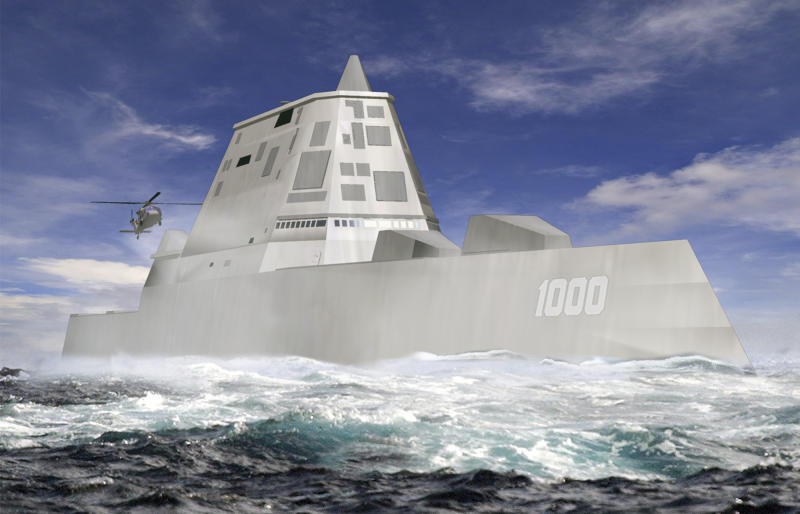 "FILE - This file image released by Bath Iron Works shows a rendering of the DDG-1000 Zumwalt, the U.S. Navy's next-generation destroyer, which has been funded to be built at Bath Iron Works in Maine and at Northrop Grumman's shipyard in Pascagoula, Miss. The super-stealthy warship that could underpin the U.S. navy's China strategy will be able to sneak up on coastlines virtually undetected and pound targets with electromagnetic ""railguns"" right out of a sci-fi movie.  (AP Photo/Bath Iron Works, File)"