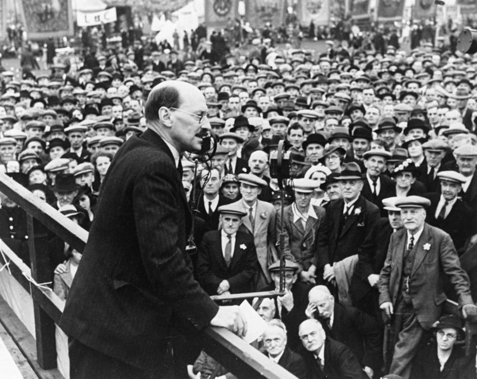 UNITED KINGDOM - FEBRUARY 23:  Clement Attlee (1883-1967), Labour politician, speaking at a political rally, 24 July 1938. Photograph by B Marshall. Clement Attlee (1883-1967), Labour politician, speaking at a political rally, 24 July 1938. Photograph by B Marshall.  (Photo by Daily Herald Archive/SSPL/Getty Images)