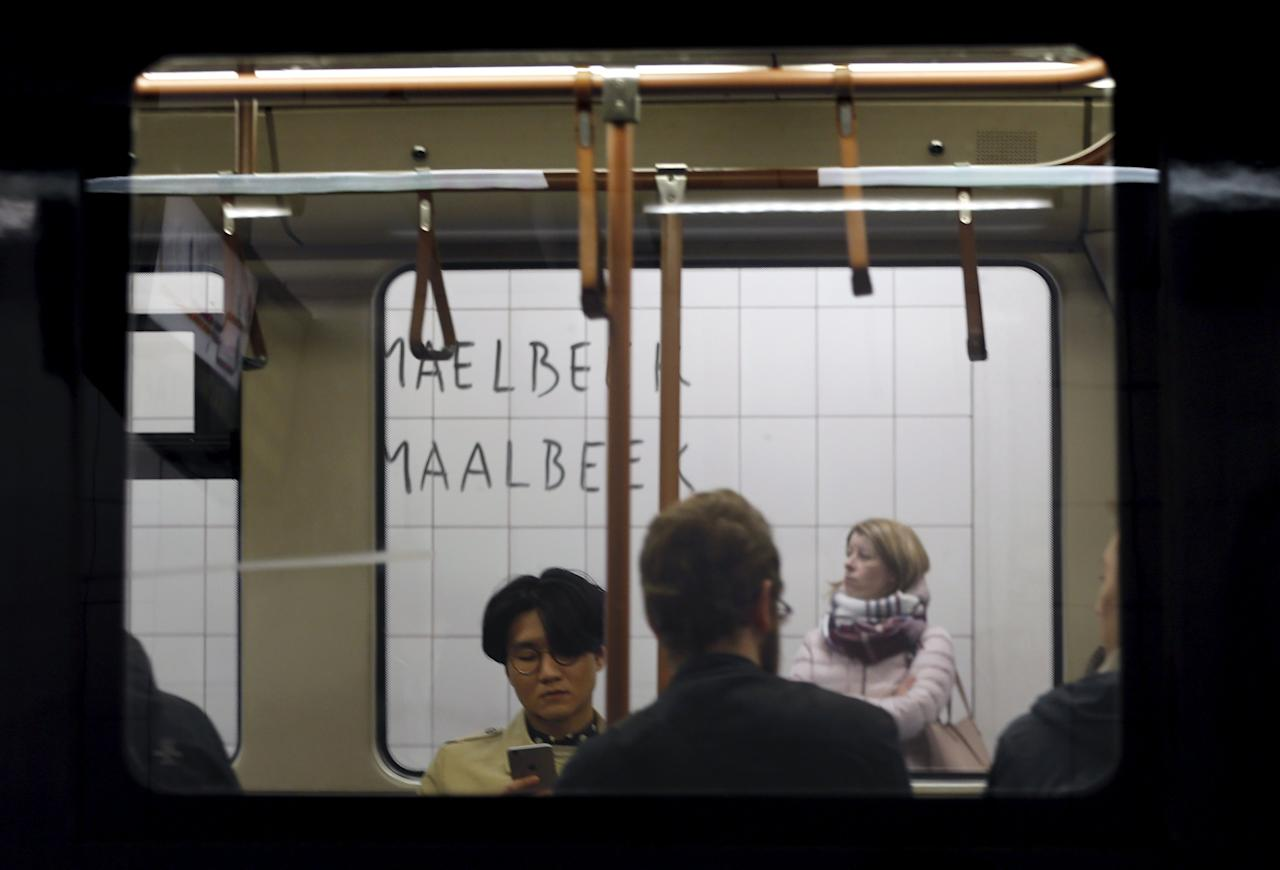 Passengers are pictured at Maelbeek metro station in Brussels, Belgium, April 25, 2016. REUTERS/Francois Lenoir