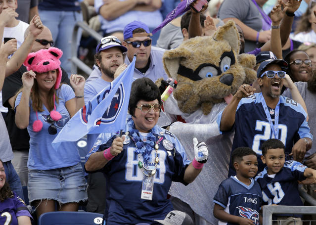 "<a class=""link rapid-noclick-resp"" href=""/nfl/teams/ten"" data-ylk=""slk:Tennessee Titans"">Tennessee Titans</a> fans will have a little something to cheer about in 2018, with a new coaching staff on the sidelines and talent at the skill spots. (AP Photo/James Kenney)"