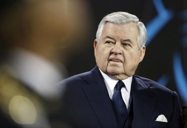 FILE - In this Jan. 24, 2016, file photo, then Carolina Panthers owner Jerry Richardson watches before the NFL football NFC Championship game against the Arizona Cardinals, in Charlotte, N.C. The NFL has fined former Carolina Panthers owner Jerry Richardson $2.75 million following its investigation into sexual and racial misconduct in the workplace. The league said Thursday, June 28, 2018, the investigation conducted by former U.S. Attorney Mary Jo White substantiated allegations against Richardson, that the improper conduct was limited to Richardson and that the team failed to report the allegations or any resolution agreements to the league.(AP Photo/Bob Leverone, File)