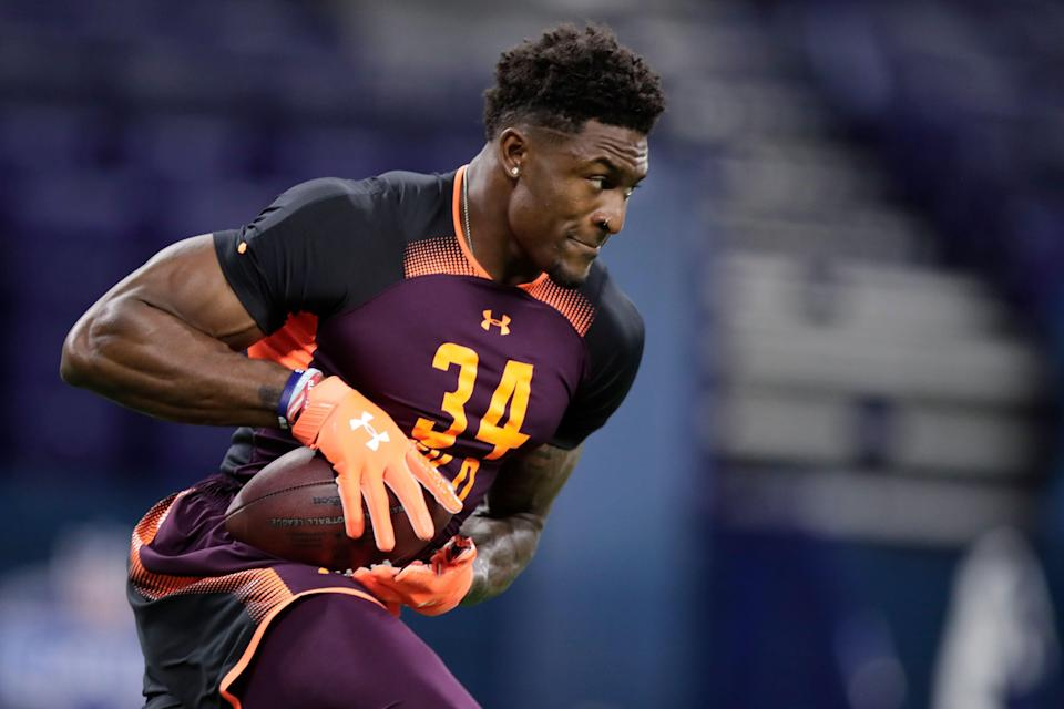Mississippi wide receiver D.K. Metcalf runs a drill at the NFL football scouting combine in Indianapolis, Saturday, March 2, 2019. (AP Photo/Michael Conroy)