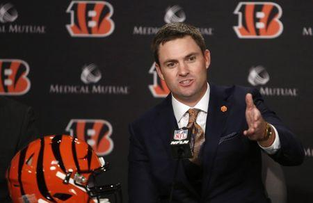 Feb 5, 2019; Cincinnati, OH, USA; Cincinnati Bengals head football coach Zac Taylor speaks during a press conference at Paul Brown Stadium. Mandatory Credit: David Kohl-USA TODAY Sports