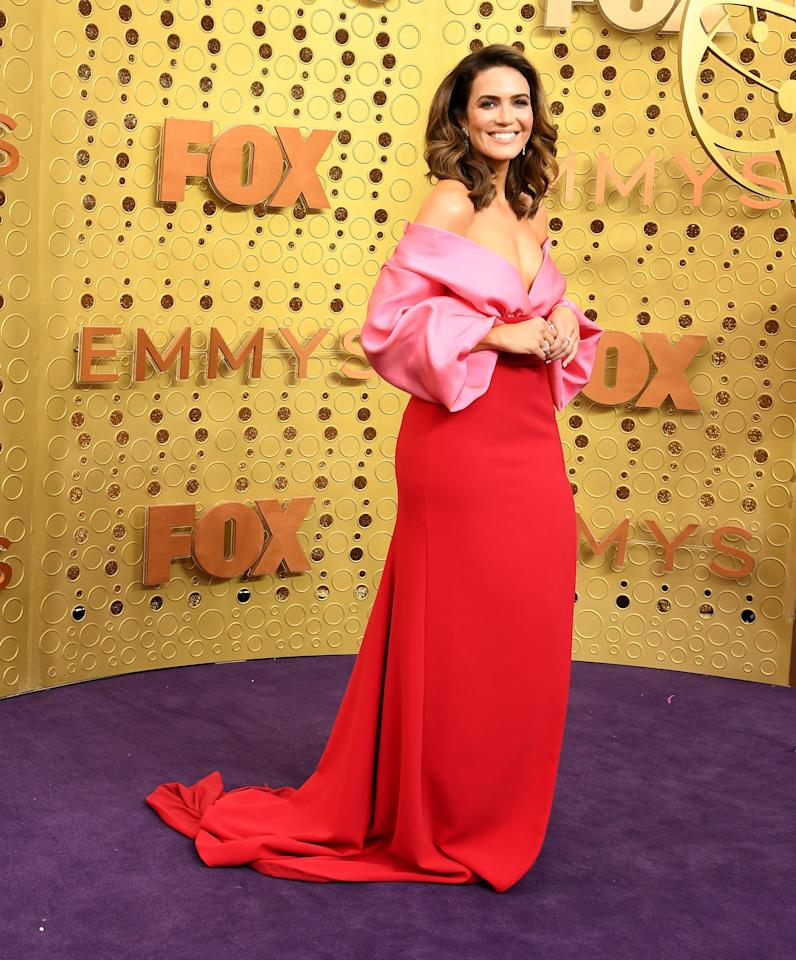 <p>Mandy hit the Emmys red carpet in this red and pink colorblocked Brandon Maxwell dress. </p>