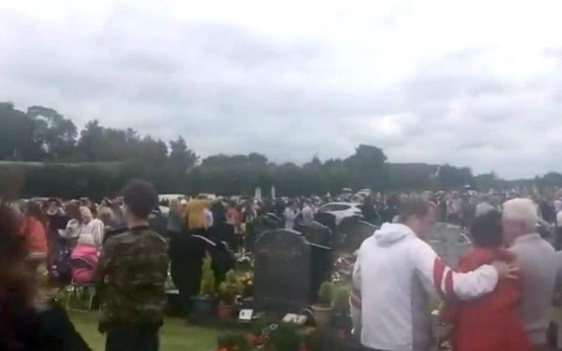 Image taken with permission from a video posted on twitter by @Simonc46176551 of the scene in St Patrick's cemetery, Dowdallshill in Dundalk - PA
