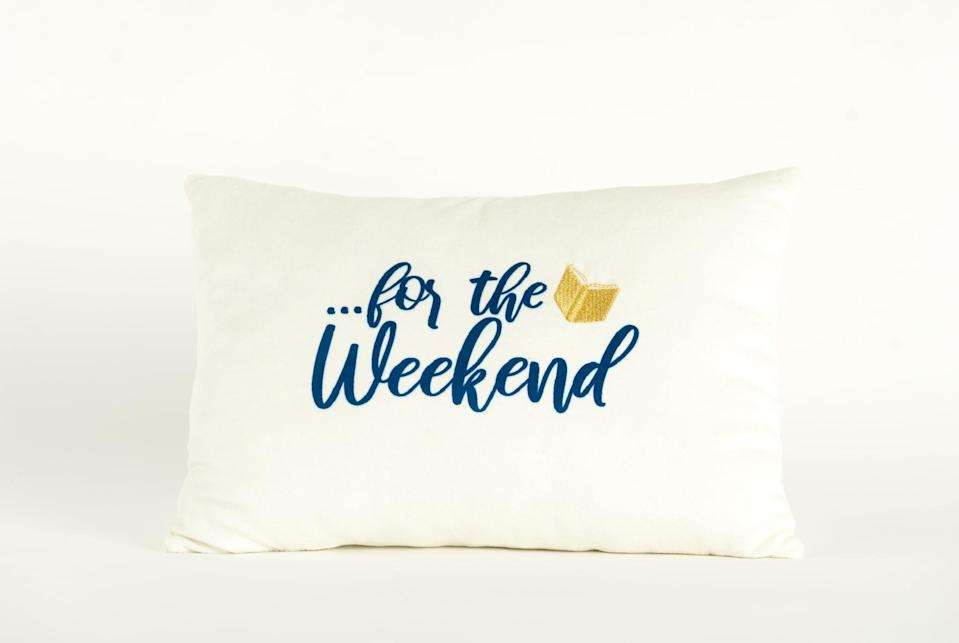 <p>Here's the other side of the <span>Disney Princess X POPSUGAR Belle Booked For the Weekend Decor Pillow</span> ($20) that features a cute gold metallic book.</p>