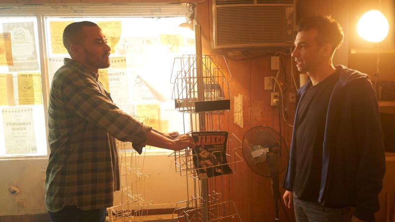 Jesse Williams and Jay Baruchel in 'Random Acts of Violence'. (Credit: Shudder)