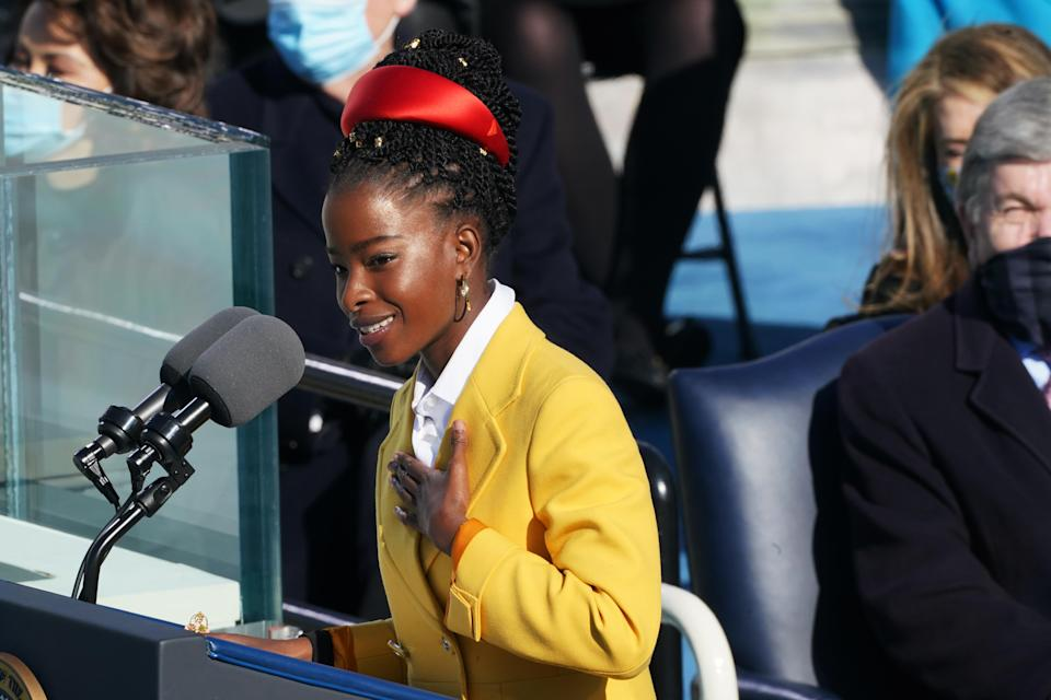 """Amanda Gorman, delivers a poem during the inauguration of President Joe Biden in Washington, D.C. on Jan 20.<span class=""""copyright"""">Erin Schaf—Pool/Getty Images National Youth Poet Laureate,</span>"""