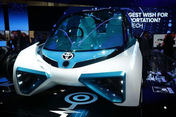 The Toyota FCV Plus, a hydrogen fuel cell concept vehicle, is on display at CES 2016 in Las Vegas.