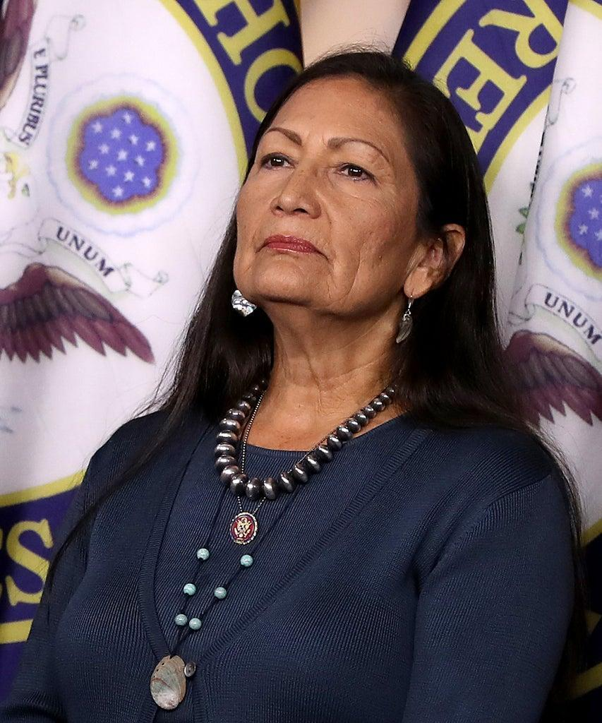 WASHINGTON, DC – SEPTEMBER 27: Rep. Deb Haaland (D-NM) joins fellow House Democrats for a news conference to mark 200 days since they passed H.R. 1, the For the People Act, at the U.S. Capitol September 27, 2019 in Washington, DC. Following the release of a whistle-blower complaint about abuse of power, the House Democratic leadership announced this week that it is launching a formal impeachment inquiry against President Donald Trump. (Photo by Chip Somodevilla/Getty Images)