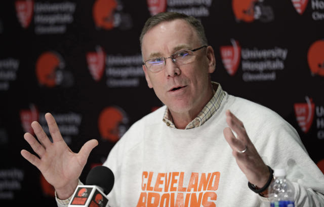 Cleveland Browns general manager John Dorsey answers questions about the draft during a news conference at the NFL football team's training camp facility, Thursday, April 19, 2018, in Berea, Ohio. (AP Photo/Tony Dejak)
