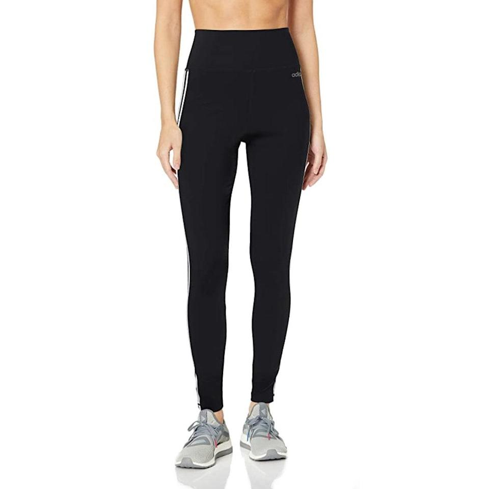 """These high-waist leggings are so snug and soft that they feel like a second skin, so they're perfect for days spent lounging around. $50, Amazon. <a href=""""https://www.amazon.com/adidas-Designed-3-Stripes-Tights-Black/dp/B07DWNK288/ref=sr_1_9?th=1&psc=1"""" rel=""""nofollow noopener"""" target=""""_blank"""" data-ylk=""""slk:Get it now!"""" class=""""link rapid-noclick-resp"""">Get it now!</a>"""