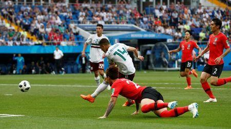 Soccer Football - World Cup - Group F - South Korea vs Mexico - Rostov Arena, Rostov-on-Don, Russia - June 23, 2018 Mexico's Javier Hernandez scores their second goal REUTERS/Damir Sagolj