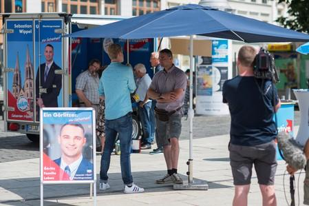 Sebastian Wippel of Alternative for Germany (AfD) during local elections campaign on the Marienplatz in Goerlitz