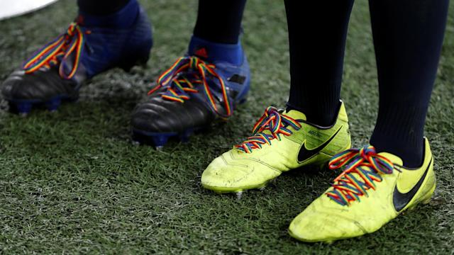 Rugby Union - Women's International - England vs Canada - Twickenham Stadium, London, Britain - November 25, 2017 General view of shoelaces in support of the Stonewall Rainbow Laces campaign Action Images via Reuters/Paul Childs