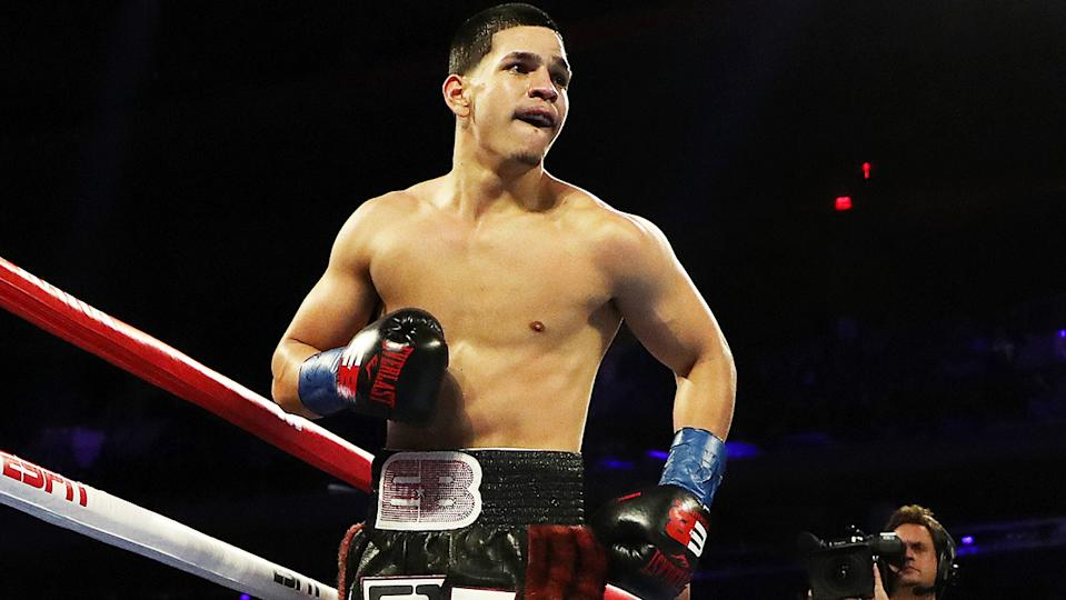 Edgar Berlanga, pictured here after his first round knockout of Cesar Nunez in 2019.