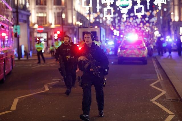 <p>Armed police officers walk along Oxford Street, in London, Britain, Nov. 24, 2017. (Photo: Peter Nicholls/Reuters) </p>