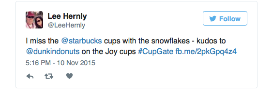 ce36d7504c8 Brew Ha Ha: Dunkin' Donuts Strikes Back After Starbucks Holiday Cup Flap