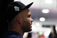 Houston Astros second baseman Jose Altuve talks to the media during a practice day for baseball's World Series Monday, Oct. 21, 2019, in Houston. The Houston Astros face the Washington Nationals in Game 1 on Tuesday. (AP Photo/Eric Gay)