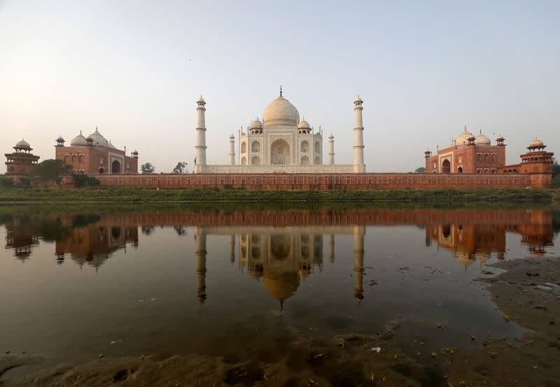 The historic Taj Mahal is pictured from across the Yamuna river in Agra