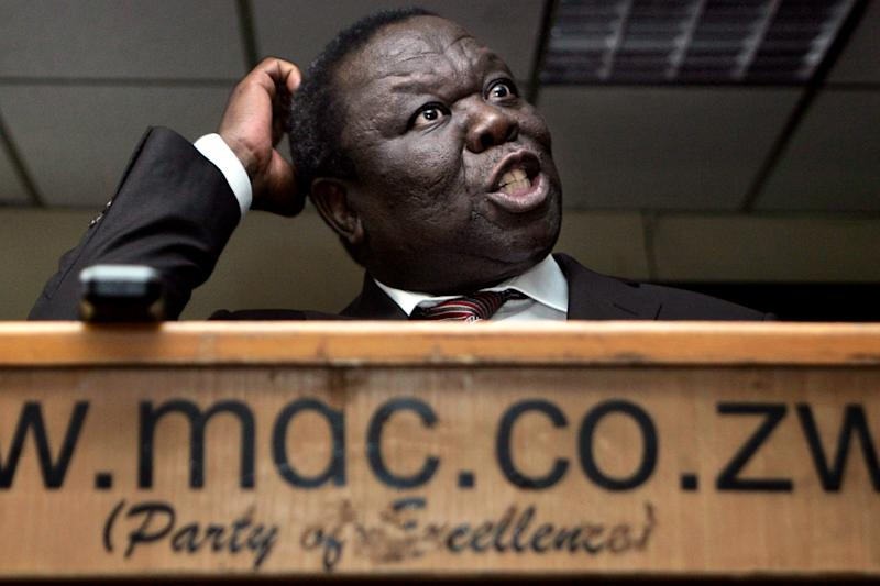 Zimbabwe main opposition leader Morgan Tsvangirai of the Movement for Democratic Change (MDC) gives a press conference in Harare March 25, 2014
