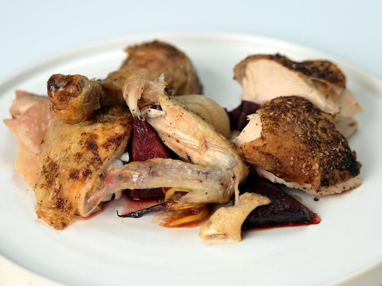 "<p>This recipe for savory roast chicken and vegetables comes from NYC-based chef and cookbook author, <a href=""https://www.seamusmullen.com/"">Seamus Mullen</a>. If you find yourself with leftovers, put them to good use in <a href=""https://www.myrecipes.com/recipe/seamus-mullen-left-over-chicken-soup"">this satisfying soup</a>. </p> <p><a href=""https://www.myrecipes.com/recipe/seamus-mullen-roast-chicken"">Roast Chicken With Dukkah and Citrus Over Roasted Vegetables Recipe</a></p>"