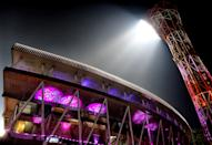 EDEN GARDEN, KOLKATA, WEST BENGAL, INDIA - 2019/11/21: Eden Garden Stadium decorated with Pink Lights. Kolkata is celebrating the glory of organising the 1st Pink Ball Test Cricket Match in India and within Asia between India and Bangladesh from 22 -26 November, 2019 at Eden Garden Stadium. (Photo by Avishek Das/SOPA Images/LightRocket via Getty Images)