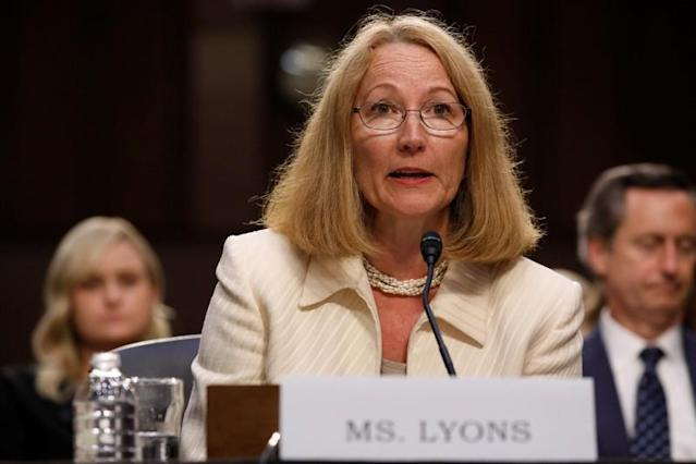 """FILE PHOTO: Susanne Lyons, Acting Chief Executive Officer of United States Olympic Committee testifies before a Commerce Subcommittee hearing entitled """"Strengthening and Empowering U.S. Amateur Athletes: Moving Forward with Solutions"""" on Capitol Hill in Washington"""