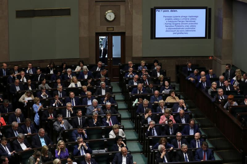 Poland's members of lower house of parliament during debate about Holocaust bill in Warsaw