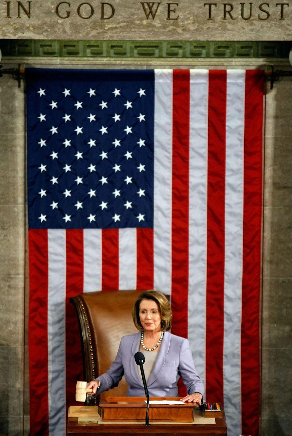 <p>Pelosi presides over the the first session of the 111th Congress in the House Chambers.</p>