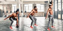 """<p><strong>You'll need: Kettlebells</strong><br></p><p>This workout uses compound lifts to hit every <a href=""""https://www.menshealth.com/uk/building-muscle/a750068/which-muscle-groups-should-i-work-out-on-the-same-day"""" rel=""""nofollow noopener"""" target=""""_blank"""" data-ylk=""""slk:muscle group"""" class=""""link rapid-noclick-resp"""">muscle group</a> from all angles. <a href=""""http://www.menshealth.com/uk/fitness/a758971/the-5-best-exercises-for-burning-belly-fat/"""" rel=""""nofollow noopener"""" target=""""_blank"""" data-ylk=""""slk:Body fat"""" class=""""link rapid-noclick-resp"""">Body fat </a>has nowhere to hide. Alternate your arms with each rep and work through as many rounds as possible in 15 minutes, resting only as necessary to maintain good form. Work from the most mechanically and metabolically difficult movement to the least, but increase the reps as you go so you maintain the intensity throughout. Pick a <a href=""""https://www.menshealth.com/uk/building-muscle/a758657/the-7-best-kettlebell-exercises-to-build-muscle/"""" rel=""""nofollow noopener"""" target=""""_blank"""" data-ylk=""""slk:kettlebell"""" class=""""link rapid-noclick-resp"""">kettlebell</a> you could press overhead at least 15 times, then grit your teeth.</p><p><strong>Devil's Press: 6 Reps, Rest as Required</strong><br>Drop into a plank for a burpee. As you get up and jump your feet forward, grab the bell in one hand. Push your hips forward, stand and use the momentum to swing it overhead. Reverse and repeat on the opposite side.<br><strong><br>Snatch: 8 Reps, Rest as Required</strong><br>Cut out the burpee. Stand and hinge at the hips to hold the bell on the floor. Thrust your hips forward and your elbow up to fire the weight above your head. Lower to your shoulder, then the ground. Swap sides<br><strong><br>Clean and Press: 10 Reps, Rest as Required</strong><br>From the same starting position, thrust your hips forward and rip the weight up to your shoulder, then press overhead. Reverse to the ground and swap sides.<br><strong><br>Clean: 12 Reps, Rest as Req"""