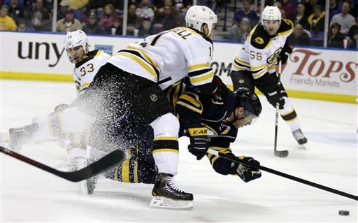Boston Bruins' Gregory Campbell (11) checks Buffalo Sabres' Derek Roy (9) during the first period of an NHL hockey game in Buffalo, N.Y., Friday, Feb. 24, 2012. (AP Photo/David Duprey)