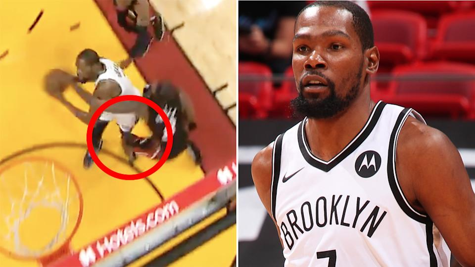 Kevin Durant left the Brooklyn Nets' clash with the Miami Heat after colliding with defender Trevor Ariza in the first quarter. Durant recently recovered from a hamstring strain that sidelined him for 23 games. Pictures: ESPN/Getty Images