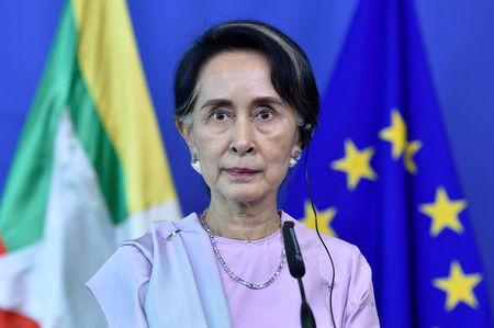 Myanmar State Counsellor Aung San Suu Kyi attends a news conference with European Union foreign policy chief Federica Mogherini (not pictured) in Brussels, Belgium May 2, 2017. REUTERS/Eric Vidal