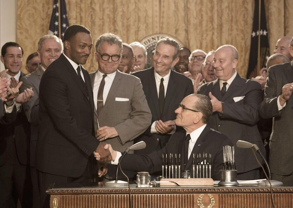 "<p>Mackie portrayed Kin in the 2026 HBO drama <em>All The Way, </em>which followed Lyndon B. Johnson's presidency as he worked to pass the Civil Rights Act in 1964. </p> <p>Mackie <a href=""https://www.npr.org/2016/05/21/479001695/anthony-mackie-on-portraying-martin-luther-king-jr-in-all-the-way"" rel=""nofollow noopener"" target=""_blank"" data-ylk=""slk:said of playing the famed activist"" class=""link rapid-noclick-resp"">said of playing the famed activist</a>, ""I grew up in a house where my dad made sure that Dr. King was a part of our daily existence. And he always described him as a leader of men. And that's the Dr. King I wanted to portray. And he was a great and shrewd politician. And I don't think we've ever seen that aspect of him on film.""</p>"