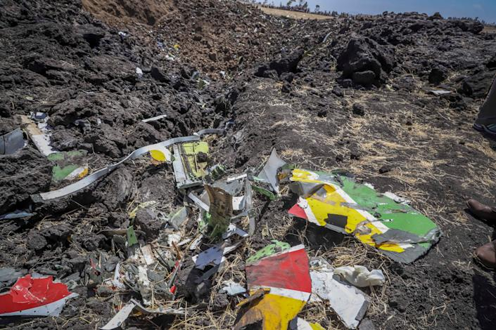 Wreckage lies at the scene of an Ethiopian Airlines flight that crashed shortly after takeoff at Hejere near Bishoftu, or Debre Zeit, some 50 kilometers (31 miles) south of Addis Ababa, in Ethiopia, March 10, 2019. (Photo: AP)