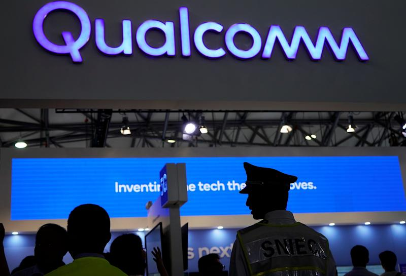 FILE PHOTO: A Qualcomm sign is pictured at Mobile World Congress (MWC) in Shanghai, China June 28, 2019. REUTERS/Aly Song