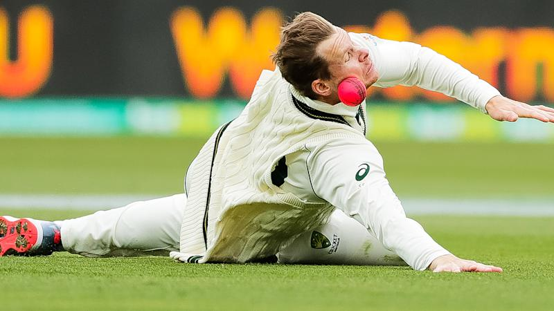 Australia's Steve Smith, pictured attempting a catch in the second Test against Pakistan in Adelaide.