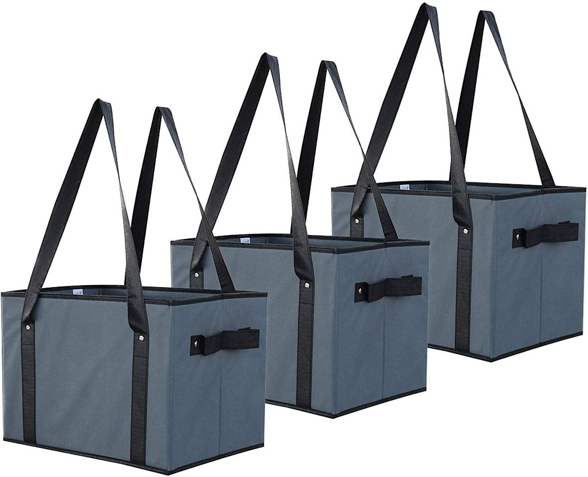 """<p>This <a href=""""https://www.popsugar.com/buy/Earthwise-Deluxe-Collapsible-Reusable-Shopping-Box-Grocery-Bag-Set-548236?p_name=Earthwise%20Deluxe%20Collapsible%20Reusable%20Shopping%20Box%20Grocery%20Bag%20Set&retailer=amazon.com&pid=548236&price=25&evar1=savvy%3Aus&evar9=47208848&evar98=https%3A%2F%2Fwww.popsugar.com%2Fphoto-gallery%2F47208848%2Fimage%2F47208849%2FEarthwise-Deluxe-Collapsible-Reusable-Shopping-Box-Grocery-Bag-Set&list1=shopping%2Ceco-friendly%2Csustainability&prop13=api&pdata=1"""" rel=""""nofollow"""" data-shoppable-link=""""1"""" target=""""_blank"""" class=""""ga-track"""" data-ga-category=""""Related"""" data-ga-label=""""https://www.amazon.com/Earthwise-Collapsible-Reusable-Shopping-Reinforced/dp/B07R6V5BPB/ref=sr_1_7?keywords=reusable+shopping+bags&amp;qid=1581435169&amp;sr=8-7"""" data-ga-action=""""In-Line Links"""">Earthwise Deluxe Collapsible Reusable Shopping Box Grocery Bag Set</a> ($25) is always a good thing to have on hand.</p>"""