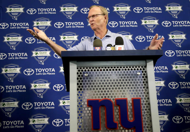 New York Giants owner John Mara is clearly frustrated at the team's 1-5 start, but he stands by his choice to draft a running back. (AP)