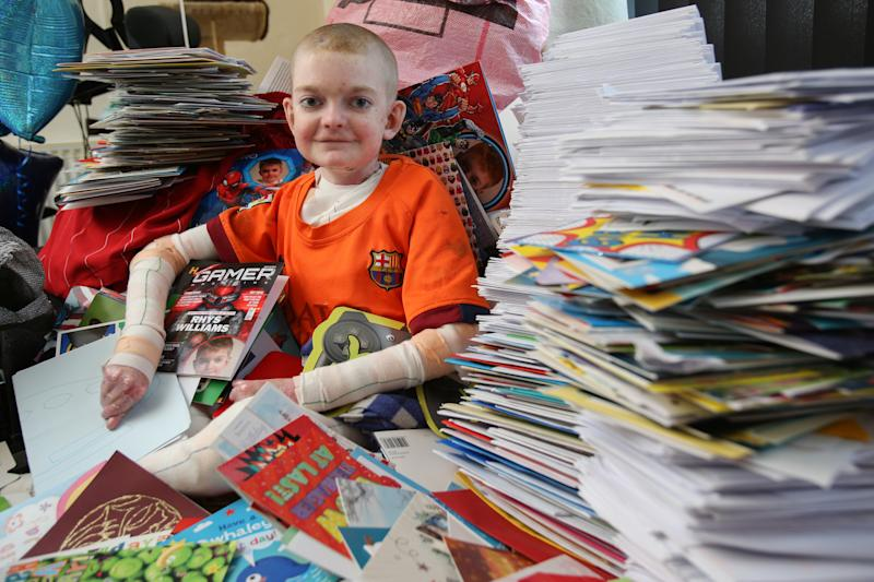 Rhys Williams has received more than 18k cards from well-wishers [Photo: SWNS]