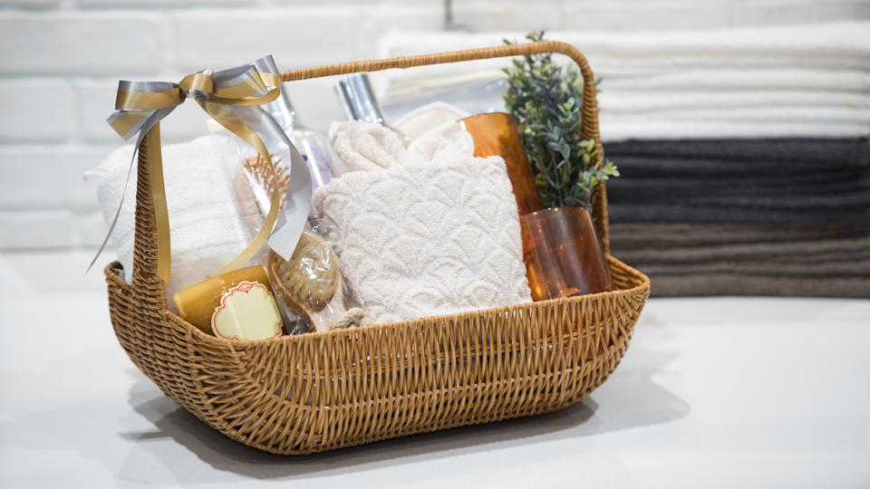 Soft focus and background blurred Gift Baskets, Gift set .